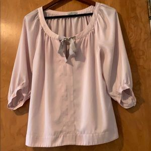 Pink Bow Neck Blouse